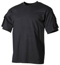 US T-Shirt, halbarm, schwarz, mit Ärmeltaschen