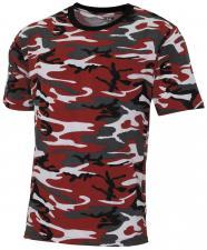 "US T-Shirt, ""Streetstyle"", rot-camo, 140-145 g/m²"
