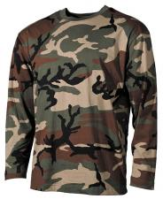 US Tarn-Shirt, langarm, woodland, 160g/m²