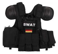 """Weste, """"Combat"""", div. Taschen, schwarz, größenverstellbar, QR"""