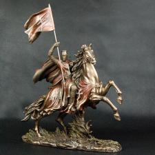 Figur Reiter Tempelritter auf Pferd m. Flagge Templer mit Schlachtross