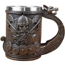 großer Humpen Bier Krug für durstige Wikinger an der Odin Tafel in Walhalla