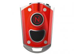 NEBO LED Schlüsselanhänger rot eloxiertes Aluminiumgehäuse,, spritzwassergeschützt, USB Ladekabel, Edelstahl-Umhängekette
