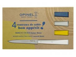 Opinel Bon Appetit Celeste Tafelmesser, rostfrei, 4-tlg, Stahl 12C27, Buchenholzgriffe in weiß, blau, gelb, grau