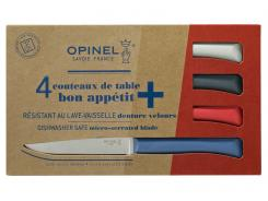 Opinel Bon Appetit+ Tafelmesser, 4-tlg., Sandvik-Stahl 12C27, Mikrozahnung