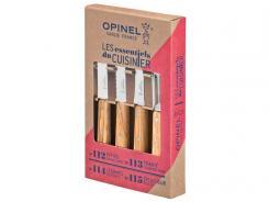 OPINEL Küchenmesser-Set, 4-teilig, rostfreier Sandvik-Stahl,, Olivenholz-Griffe