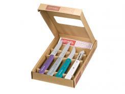 Opinel Küchenmesser-Set, Essentials, 4-tlg, rostfrei, farbige Buchenholzgriffe