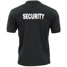 Poloshirt, schwarz, Security, bedruckt