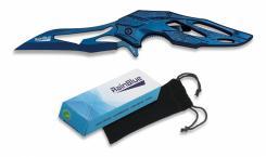 federunterstütztes Karambit Taschenmesser - blau Skelettmesser m Clip