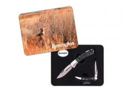 Remington Taschenmesser-Set, zwei Messer, Stahl 420J2,, grün-schwarzes Hornimitat, Edelstahlbacken, Metallbox