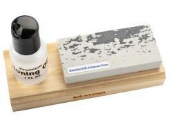 RH PREYDA Sportsman Schleifset, Soft Arkansas Stein,, Körnung 400-600, auf Holzplatte montiert, Schärföl