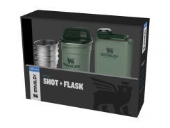 Stanley ADVENTURE SHOT & FLASK GIFT SET, Flasche 236 ml,, 4 Edelstahl-Pintchen, 59 ml, grüner Edelstahlbehälter