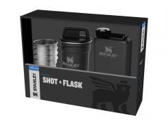 Stanley ADVENTURE SHOT & FLASK GIFT SET, Flasche 236 ml,, 4 Edelstahl-Pintchen, 59 ml, Edelstahlbehälter matt schwarz
