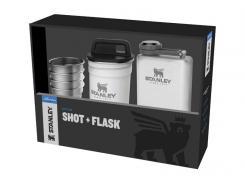 Stanley ADVENTURE SHOT & FLASK GIFT SET, Flasche 236 ml,, 4 Edelstahl-Pintchen, 59 ml, Edelstahlbehälter polarweiss