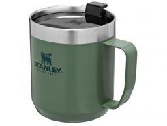 Stanley CLASSIC CAMP MUG 354ml, Stahl 18/8, Vakuumisolierung, Hammertone Green, Tritan Deckel