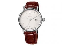 Swiza Armband-Uhr Alza Gent, Schweizer,316L, Datum, bn Lederarmband