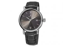 Swiza Armband-Uhr Alza Gent, Schweizer Laufwerk, Gehäuse 316L, Datum, Leder