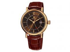 Swiza Armband-Uhr Alza GMT, Schweizer Quarzlaufwerk, braunes Leder-Band