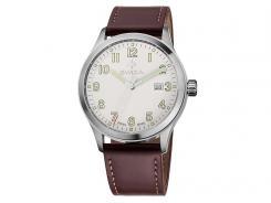 Swiza Armband-Uhr Kretos Gent, Schweizer Quarzlaufwerk, braunes Leder-Band