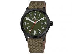 Swiza Armband-Uhr Kretos Gent, Schweizer Laufwerk,24h-Anzeige, Stoff, oliv