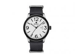 SWIZA Armbanduhr MAGNUS BLACK,  ETA F07.111 Uhrwerk, 316L,, 316L-Lünette, PVD-beschichtet, schwarzes Nylonarmband