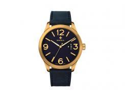 SWIZA Armbanduhr MAGNUS, ETA F07.111 Uhrwerk, Saphirglas,, Stahl 316L, goldfarben PVD-Coated, Kalbslederarmband