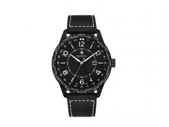 SWIZA Armbanduhr MAGNUS GMT, Ronda 515.24h Uhrwerk,, Edelstahl 316L, schwarz PVD-Coated, Saphirglas, Kalbsleder