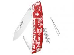 SWIZA Schweizer Messer D01, Stahl 440, Klingensperre,, rote Softgrip-Schalen, Motiv Heimat, 6 Funktionen, Blister