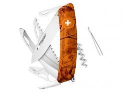 SWIZA Schweizer Messer HU09 R-TT, Stahl 440, Klingensperre,, orange pine Anti-Rutsch-Griffschalen, 13 Funktionen