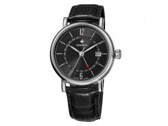 Swiza Uhr Alza GMT, Schweizer Qualitäts-Quarzlaufwerk, Gehäuse Edelstahl 316L, zweite Zeitzone, schwarzes Band