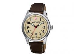 Wenger-Uhr, Terragraph, Edelstahlgehäuse, gebürstet,, poliert, Saphirglas, Lederarmband, WEEE-Reg.-Nr. DE67518601