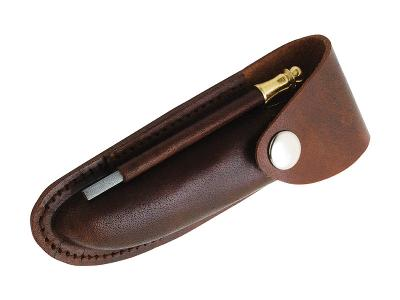 Lederetui für Laguiole-Messer und Kellnermesser, Wetzstahl, Druckknopf