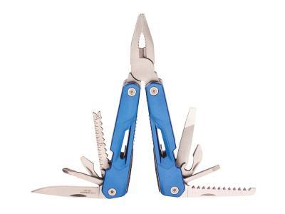Herbertz Multitool, 420er, federunterstützt, 8 Werkzeuge, blaue , schwarzes Etui