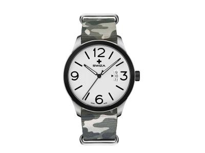 SWIZA Armbanduhr MAGNUS, ETA F07.111 Uhrwerk, Stahl 316L,, 316L-Lünette, PVD-beschichtet, grau-camo Nylonarmband